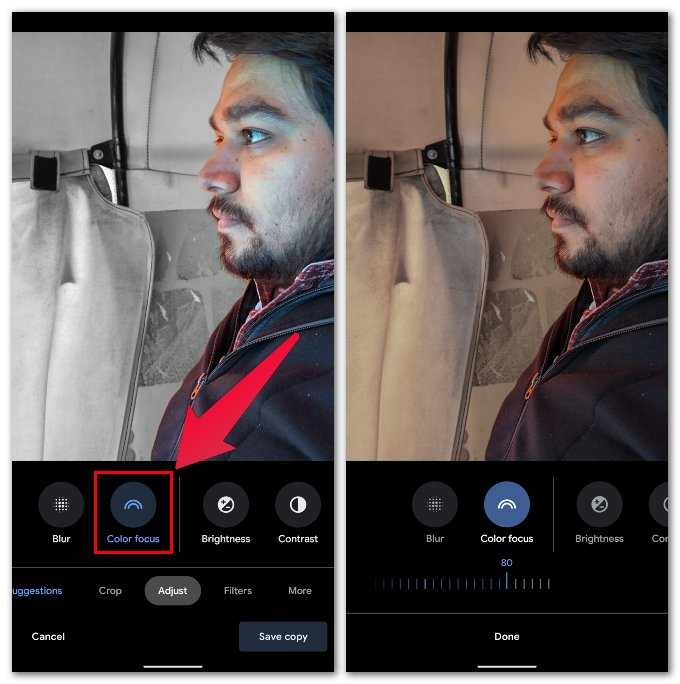 Adjust Color Pop in Google Photos