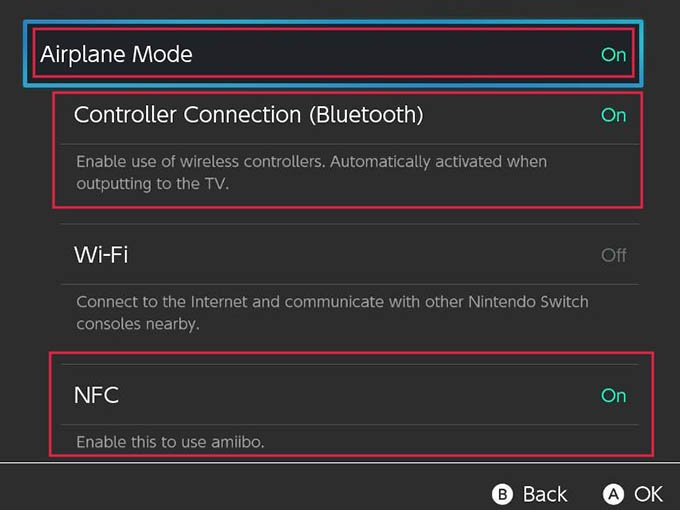 Nintendo Switch Airplane Mode Enable Settings