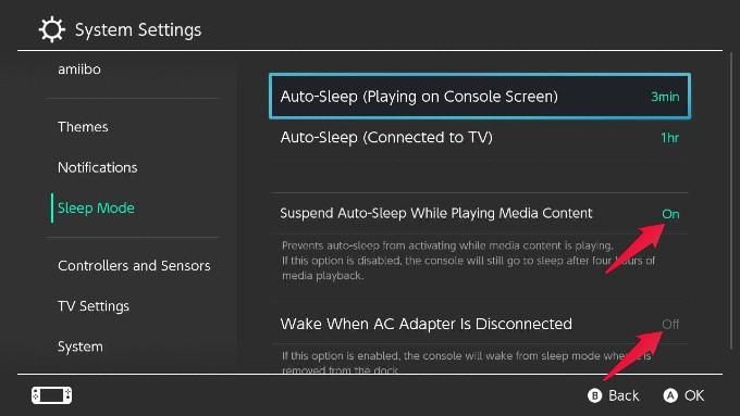 Nintendo Switch Auto-Sleep Mode Settings