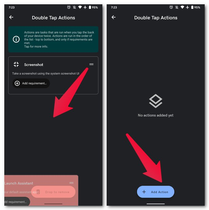 Remove existing double tap actions
