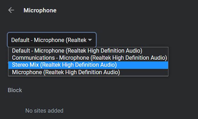 Select Microphone on Windows