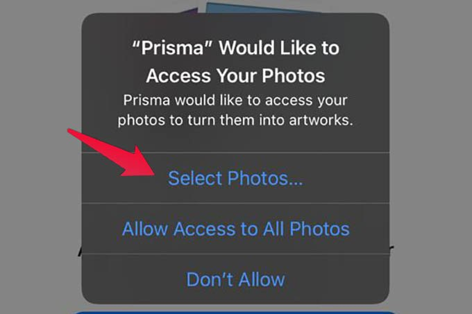 Select Photos Access to Apps on iPhone