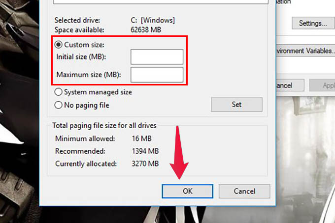 Set Custom Paging Size Windows 10
