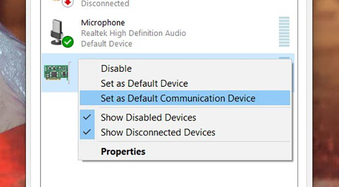 Set Default Communication Device on Windows 10