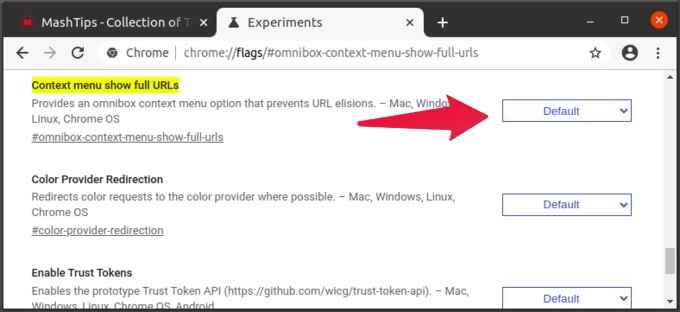 Chrome flag to show full URL