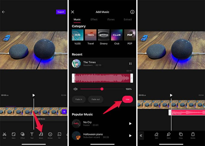 Add Free Music to Videos on VITA Video Life Video Editor App