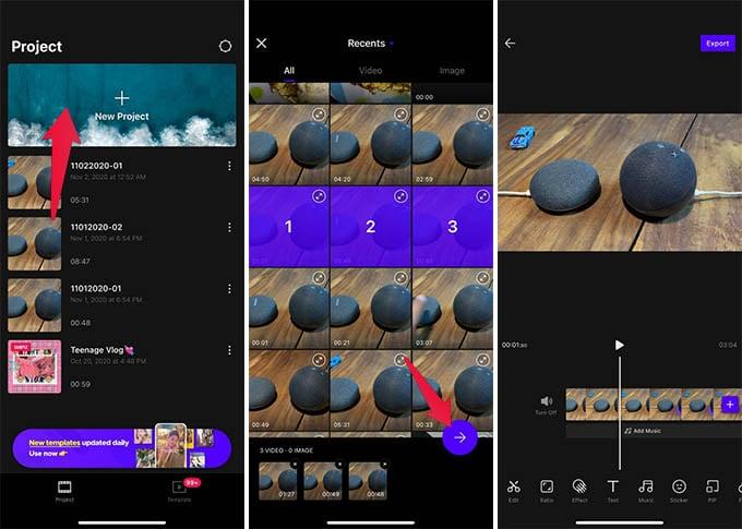 Create New Project in VITA Video Life
