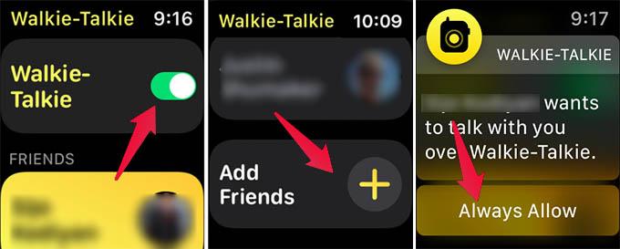Enable Apple Watch Walkie Talkie and Add Friends