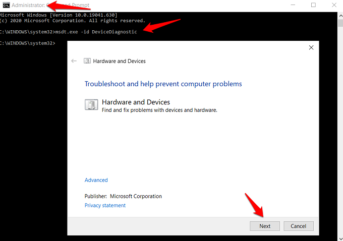 windows hardware and devices troubleshooter CMD trick