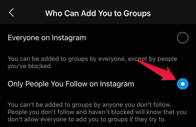 Stop Being Added to groups on Instagram