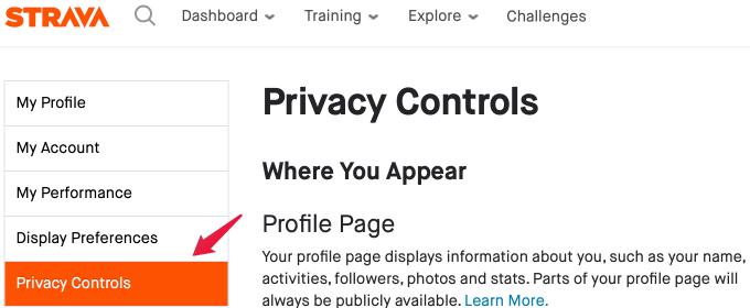 Strava Privacy Control Setting