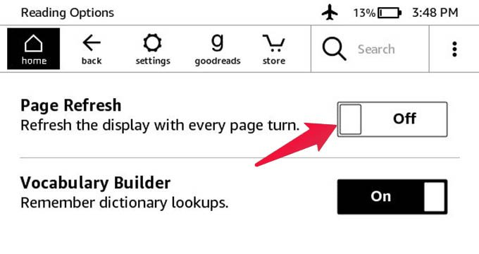 Turn off Page Refresh In Kindle