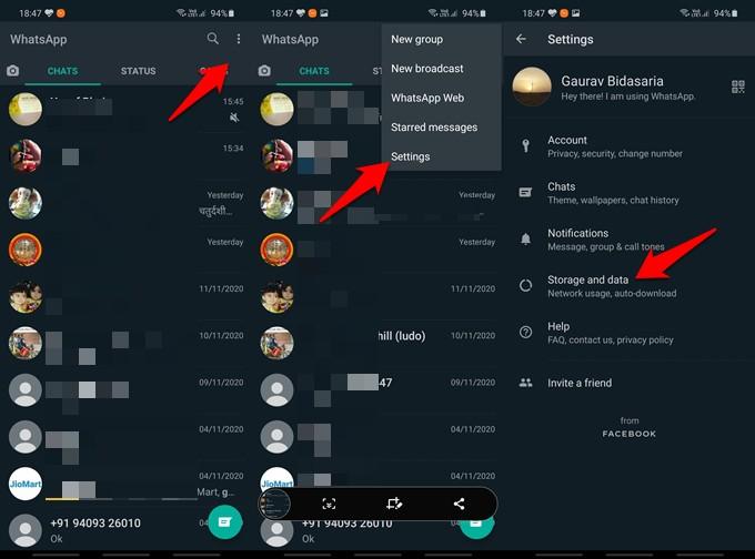 whatsapp storage management tool option