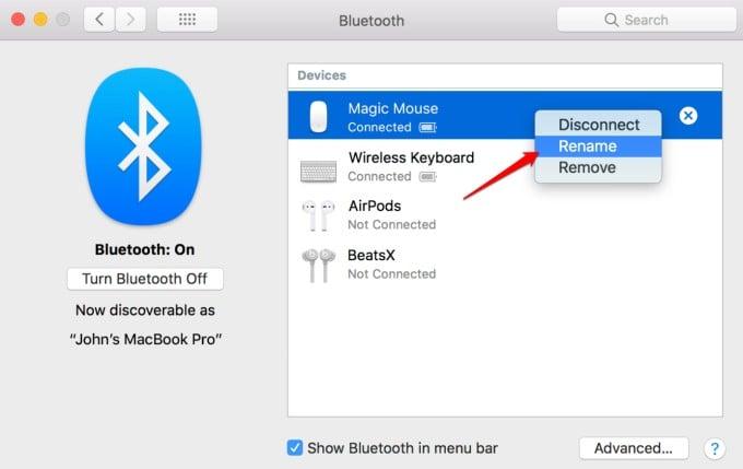 change bluetooth device name on macbook