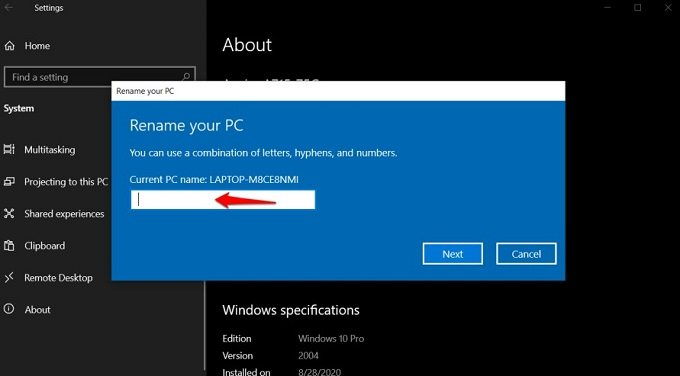 changing windows device name