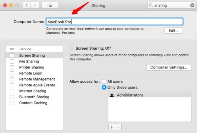 change macbook device name