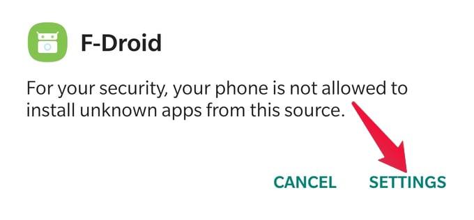 f-droid apk install permission setting