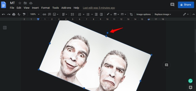 rotating image in google docs with mouse