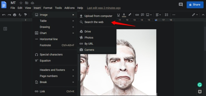 insert images in google docs
