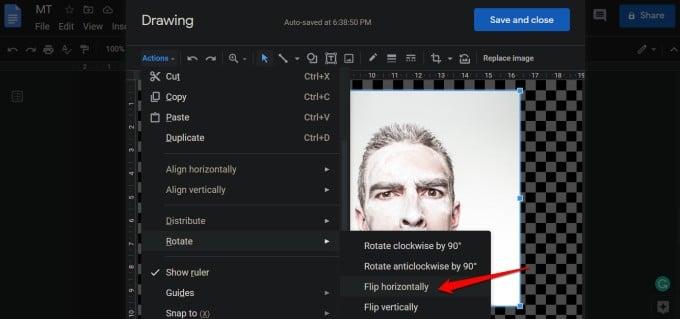 flip image in google docs horizontally or vertically