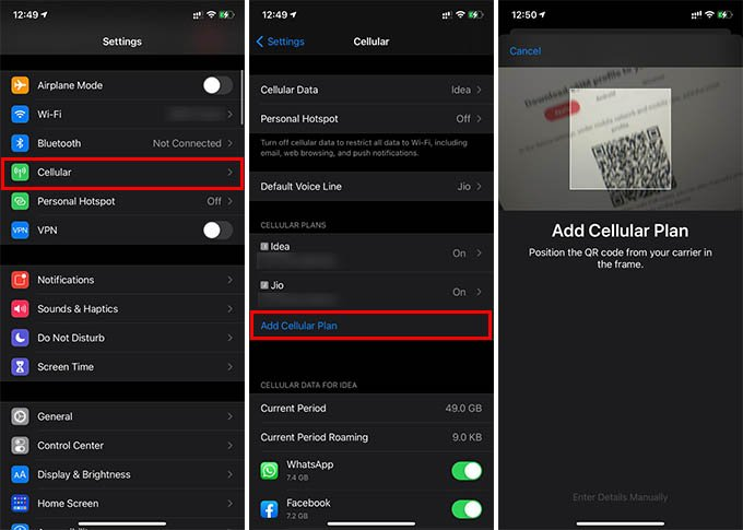 Add New eSIM on iPhone