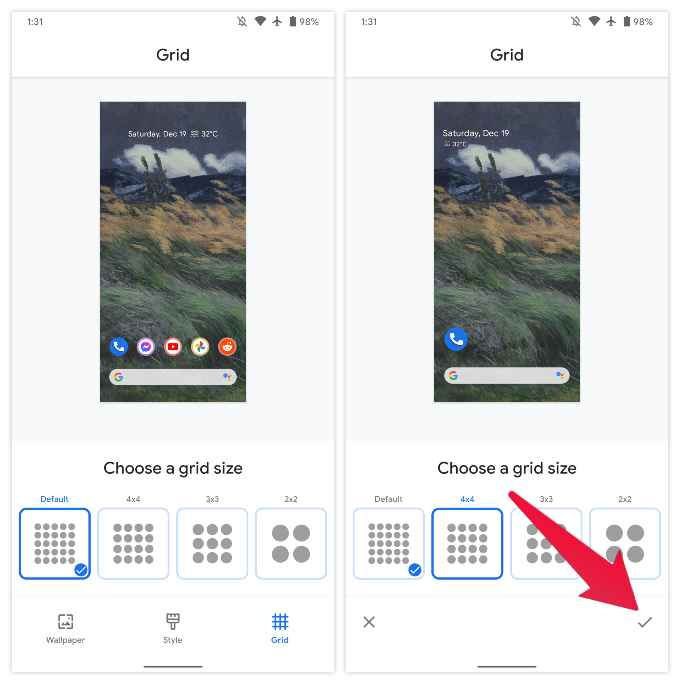 How to Change Grid Size on Google Pixel