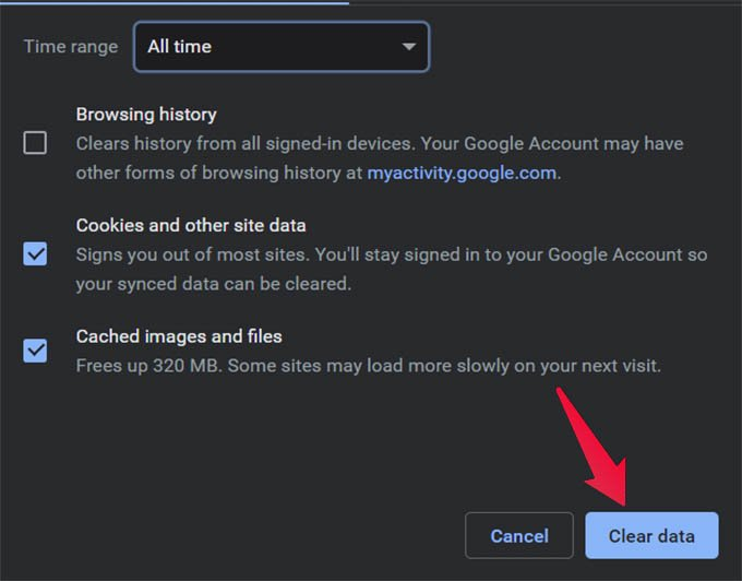 Clear Google Chrome Cookie Cache and Browser Data