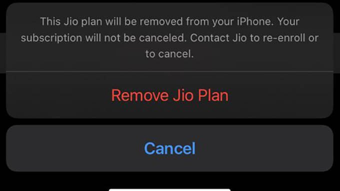 Confirm to Remove eSIM from iPhone