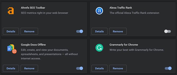 Disable or Remove Google Chrome Extensions