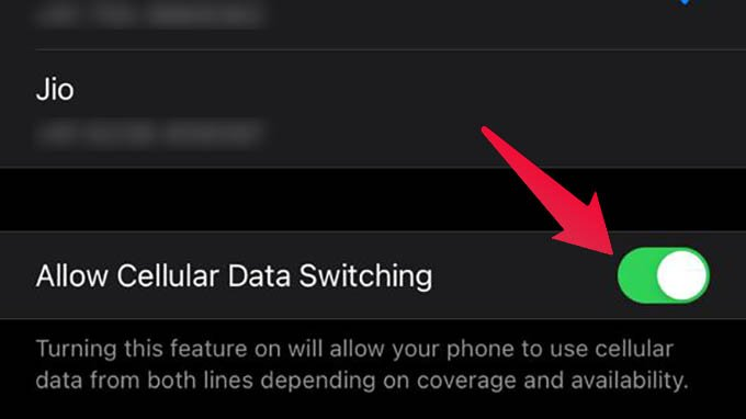 Enable Cellular Data Switching on iPhone