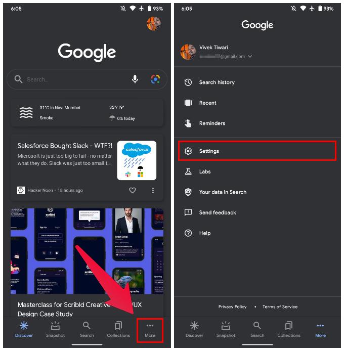 Google App settings