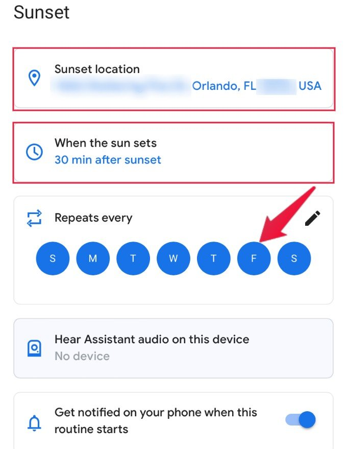 Google Home Sunset Schedule Setting