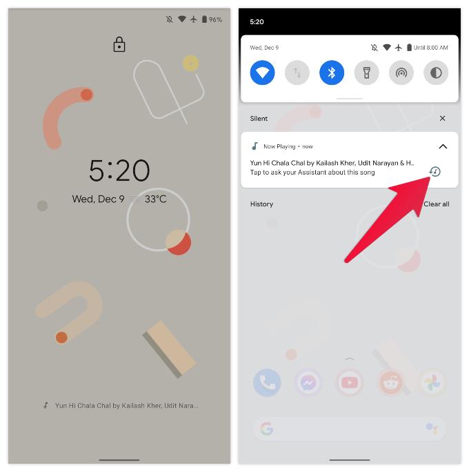 Google Pixel Now Playing notification