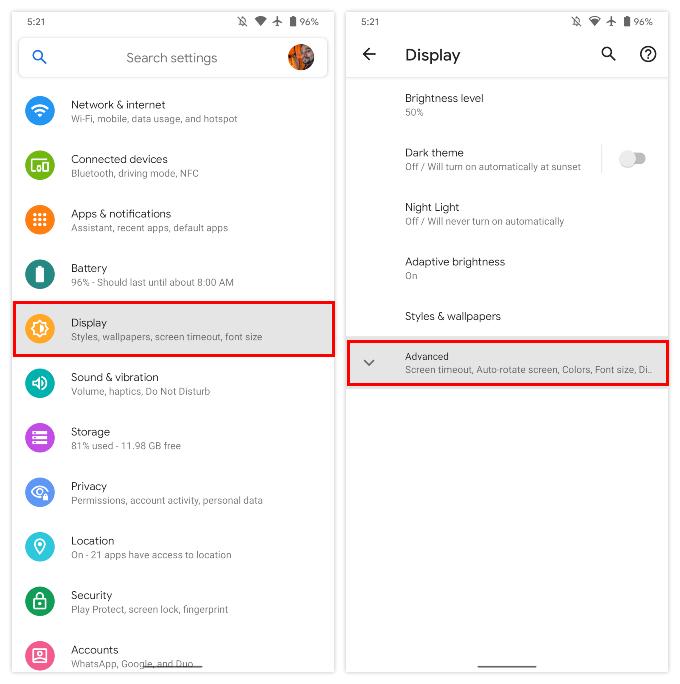 Display settings Google Pixel
