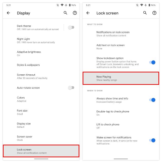 Lock screen settings Pixel