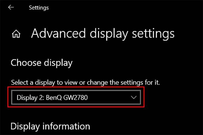 Select Monitor in Windows 10 Advanced Display Settings