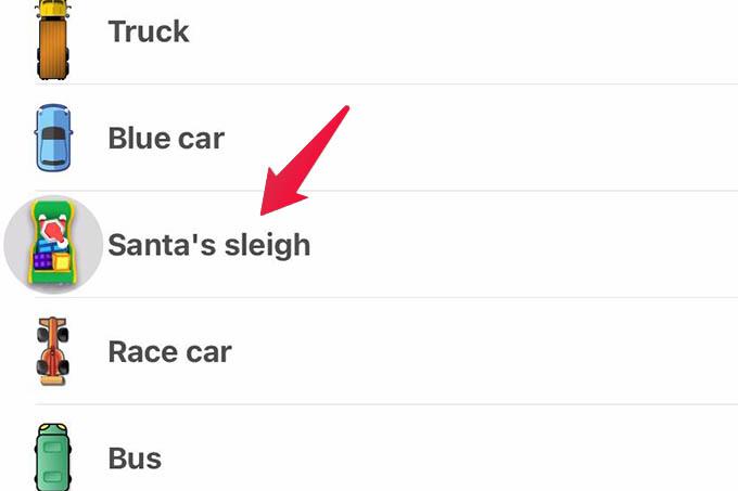 Select Santas Sleigh As Car icon in Waze