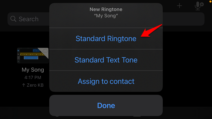 set voice memo as standard ringtone