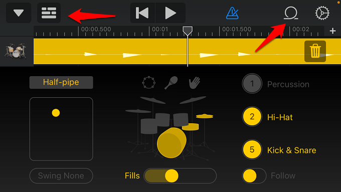 select instrument and loop to choose file from voice memo