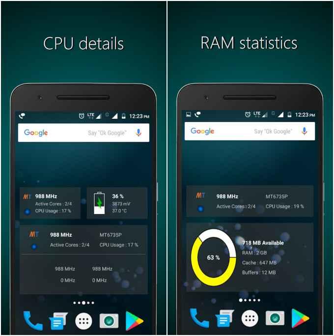 CPU, RAM and Battery Widgets