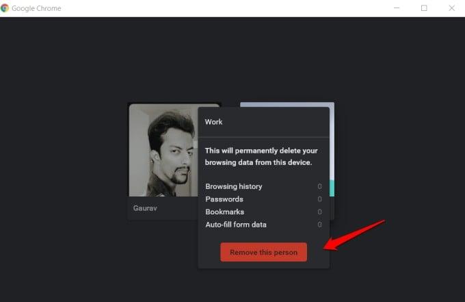 confirm chrome profile deletion