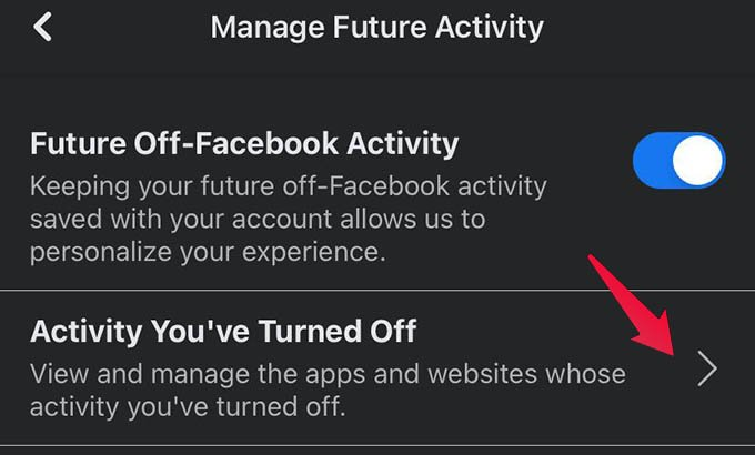 Activity You have Turned Off in Facebook
