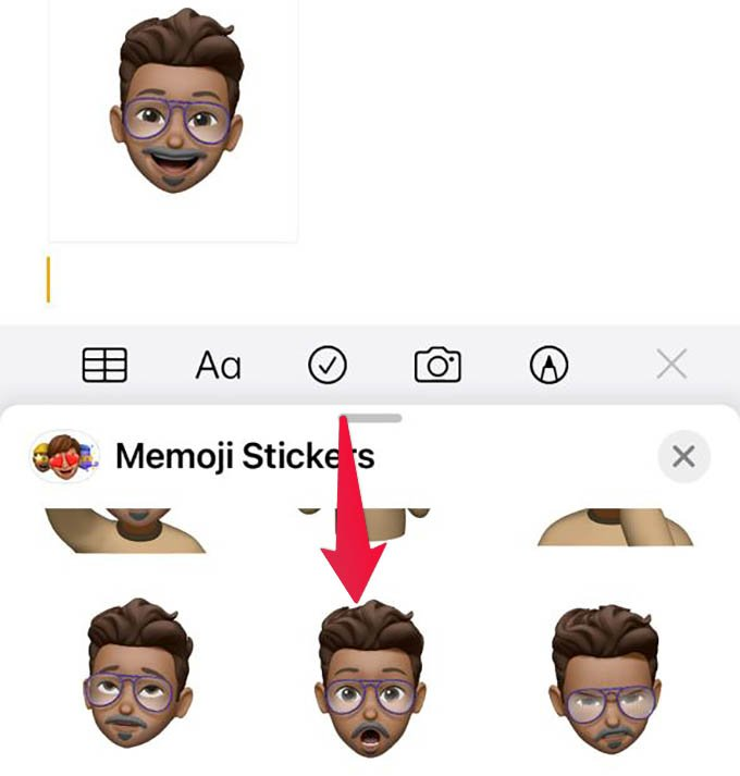 Add Memoji Sticker Images to Notes in iPhone