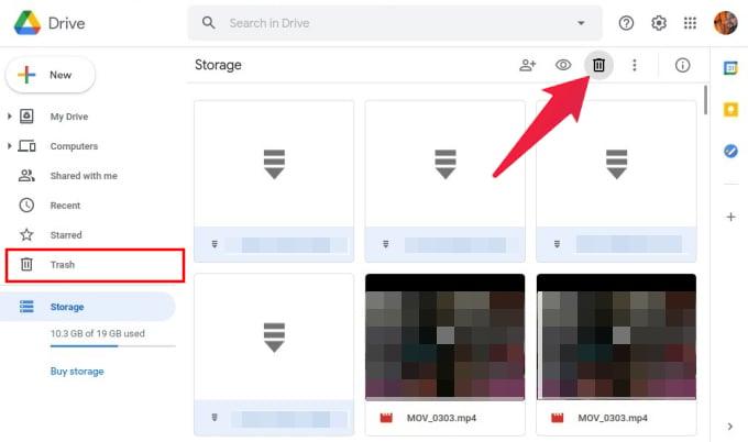 Delete large Google Drive files