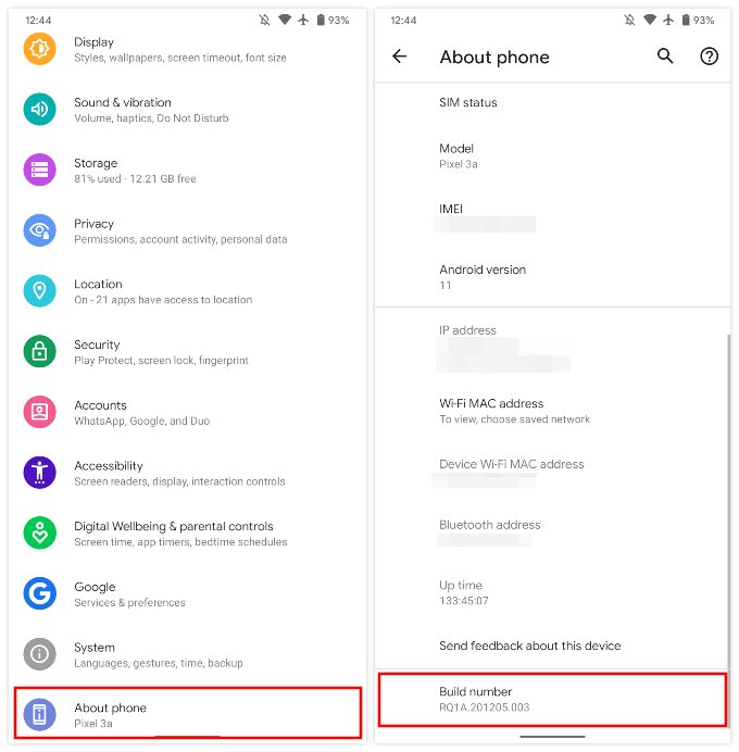 Enable developer options on Pixel devices