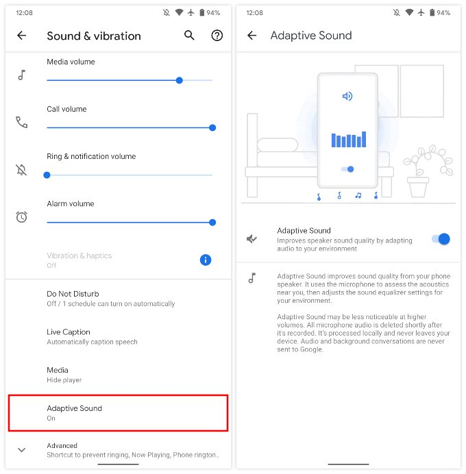 Enable Pixel 5 Adaptive Sound