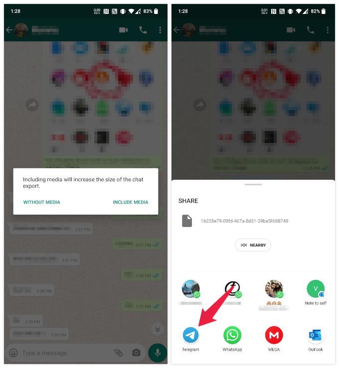 Share WhatsApp chat into Telegram