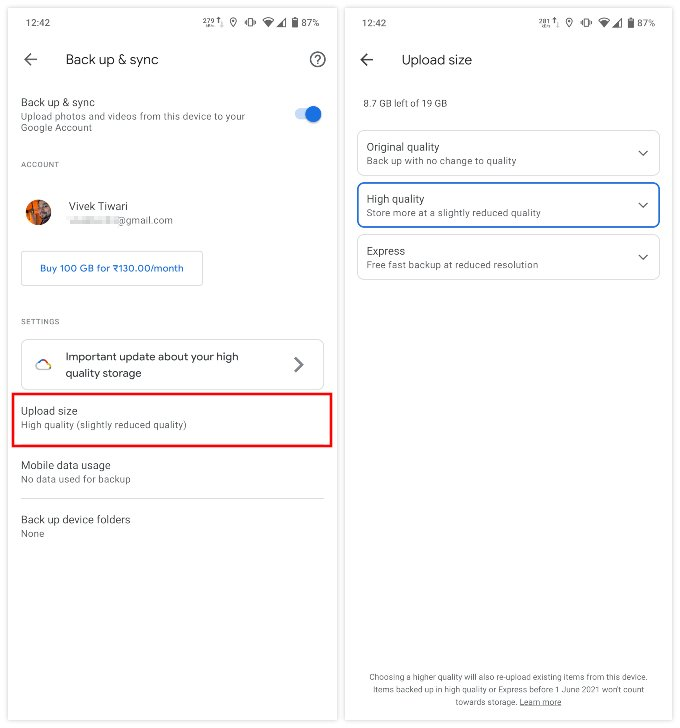 Fix Gmail storage full from Google photos