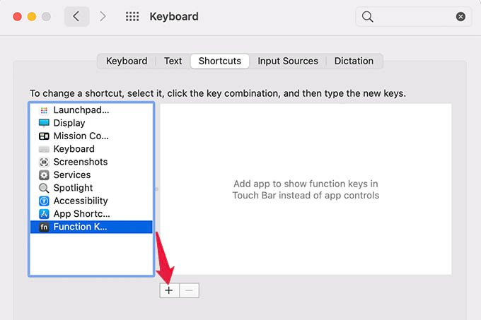 MacBook Pro TouchBar Function Keys Settings