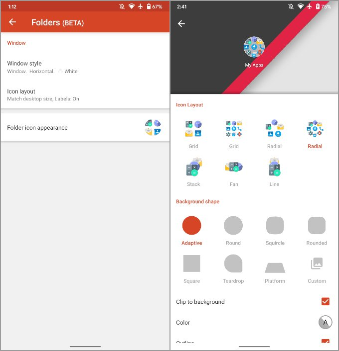 New radial icon layout features Nova Launcher 7